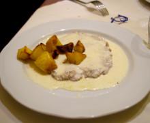 saltimbocca con crema di parmigiano